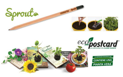 Gadget ecologici a confronto: matita Sprout® e cartolina Eco-Postcard®